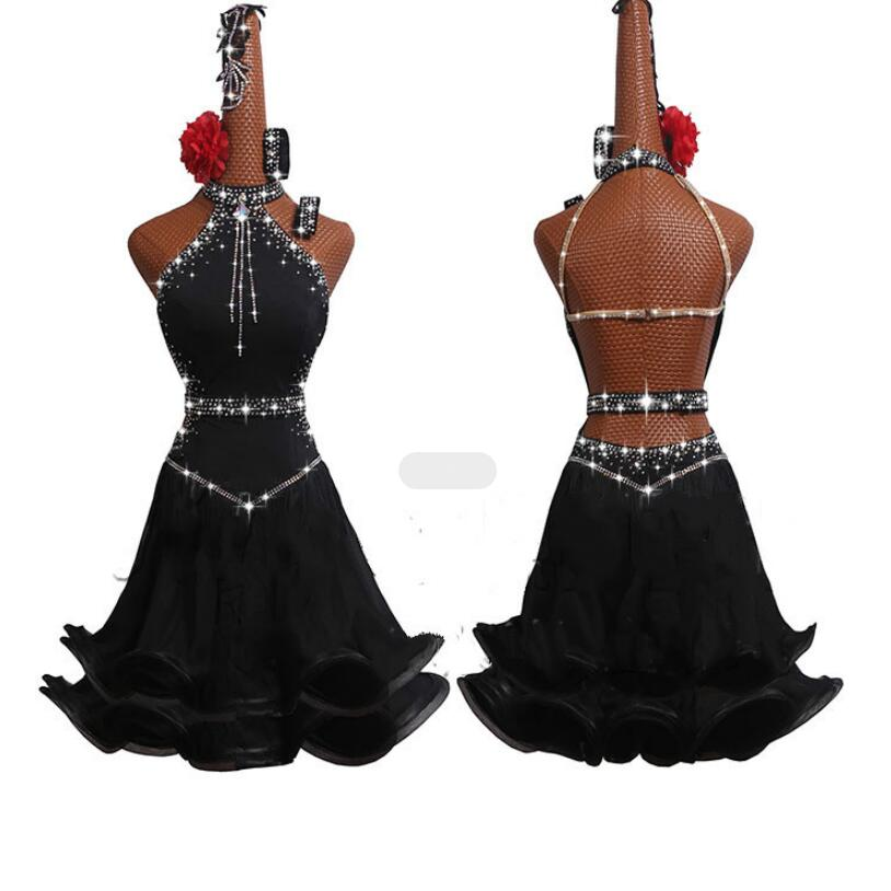 New Sexy Latin Dance Costumes New Performance Customize Latin Dance Competition Dresses Woman MD19001
