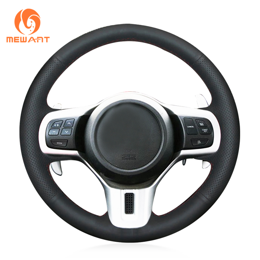 MEWANT Black Genuine Leather Car Steering Wheel Cover for Mitsubishi Lancer 10 EVO Evolution mewant black genuine leather black suede car steering wheel cover for mitsubishi lancer ex outlander asx colt pajero sport