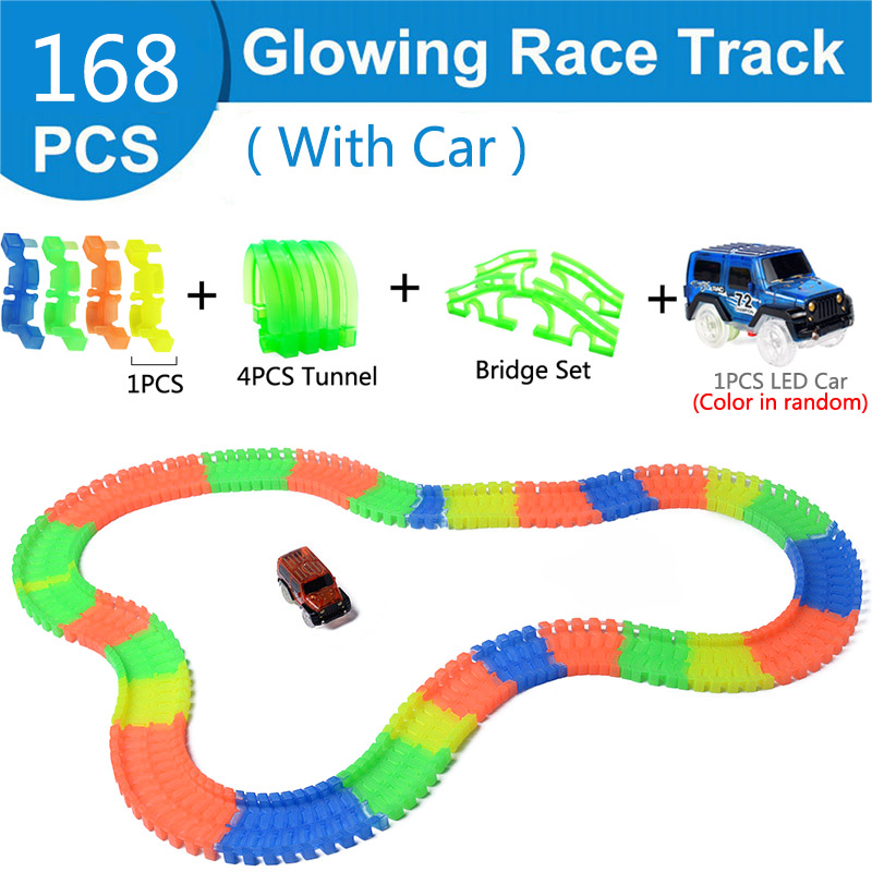 Железнодорожная волшебный светящийся гибкие трек автомобиль игрушки детей гонки изгиб рельсового пути привели Электронная вспышка света автомобиля DIY игрушки детям подарок - Цвет: 168pc 4tunnel bridge
