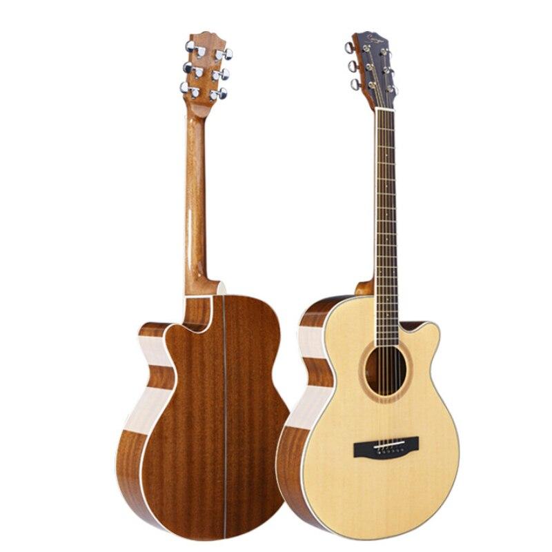 Guitare de placage d'épicéa de haute qualité 40/41 pouces ballad guitare à panneau unique légère basse corde sentir bonne guitare acoustique à cordes d'acier