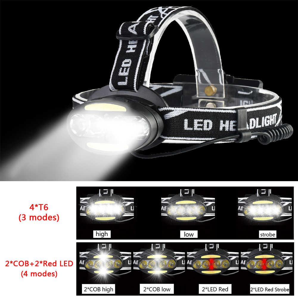 Yunmai 10000 LM LED de la lámpara de la cabeza 4 XM-L T6 2 * COB faro 2 * rojo faro + cargador USB 2*18650 batería pesca de Camping s10