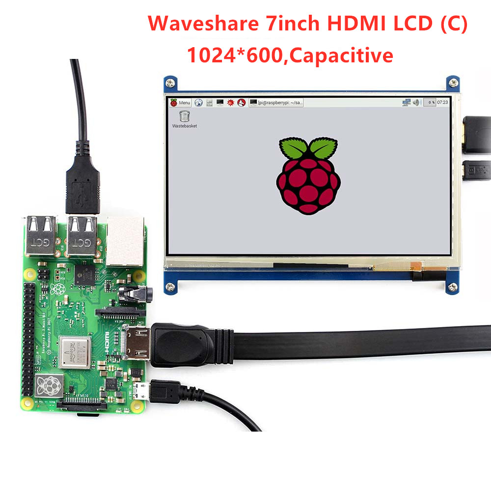 Waveshare 7-inch beeldscherm, 7 inch HDMI LCD (C), capacitief touchscreen, HDMI-monitor, ondersteunt Raspberry Pi Model 2B / 3B / 3B + BB Black