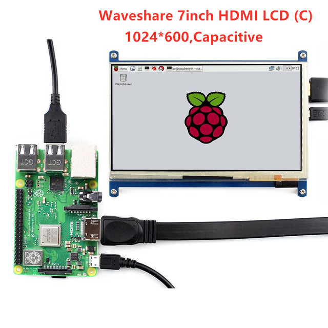 US $60 05 9% OFF|Waveshare 7'' Display , 7inch HDMI LCD (C) ,Capacitive  Touch Screen,HDMI monitor,Supports Raspberry Pi Model 2B/3B/3B+ BB Black-in