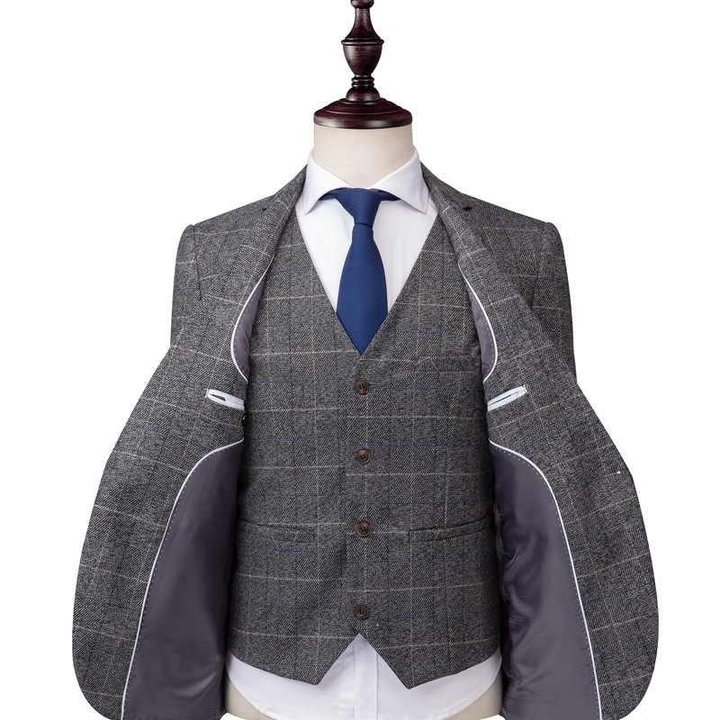 Date mode Plaid affaires hommes 3 pièces ensemble Vintage hommes décontracté marié robe de mariée costume (veste + gilet + pantalon)