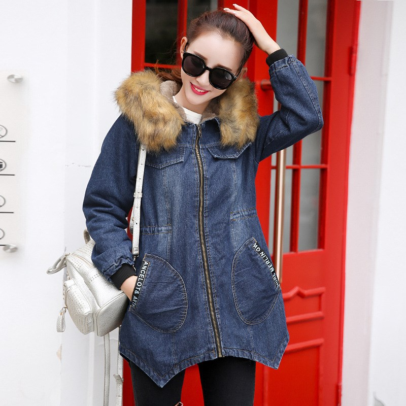 Plus Size 3XL Winter Fur Collar Cowboy Parka Faux Lamb Wool Warm Denim Jacket Coat Mid Long Womens Thick Parkas hot autumn womens slim wool warm coat parka navy blue size s xl light tan red navy