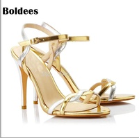 Ankle Strap Pumps Summer Shoes Woman Large Size 35 42 Gold White Leather Thin High Heels