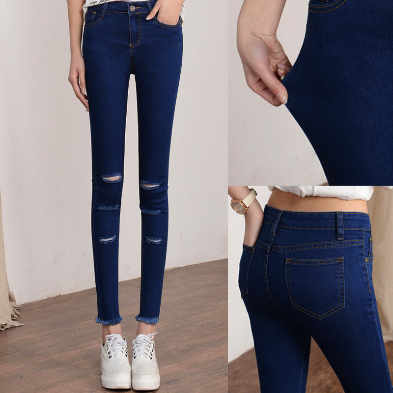 Ankle-Length Pants 2016 Women Jeans Fashion Denim Strech Skinny Hole Pants Female Sexy Girls Trousers Ripped Pencil Mid Waist 2017 fashion women jeans retro style floral embroidery ripped hole denim pencil pants vintage mid waist ankle length trousers