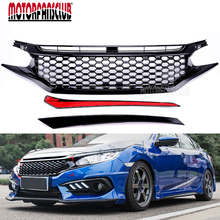 Car Auto Accessories Front Grille For Honda Civic 2016 2017 JDM RS Turbo Black Honeycomb GT Style ABS Chrome Racing Grills