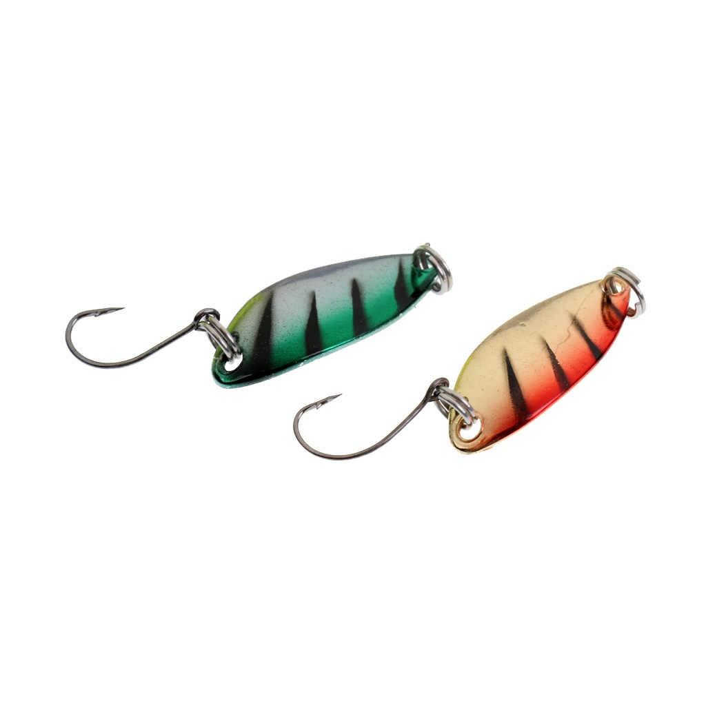 6 piezas de pesca cucharas señuelo con púas ganchos de fundición de Metal duro de cebos para trucha bajo Pike Walleye salmón