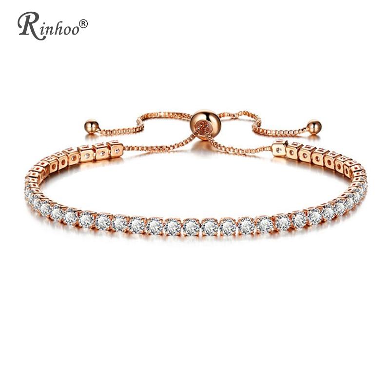 RINHOO Moda Cubic Zirconia Tennis Bracelet & Bangle Pulseras Mujer Ajustável Charm Bracelet Para Mulheres Nupcial da Jóia Do Casamento