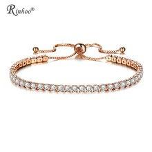 Rinhoo moda zircônia cúbica tênis pulseira & pulseira ajustável pulseras mujer charme pulseira para mulher nupcial casamento jóias