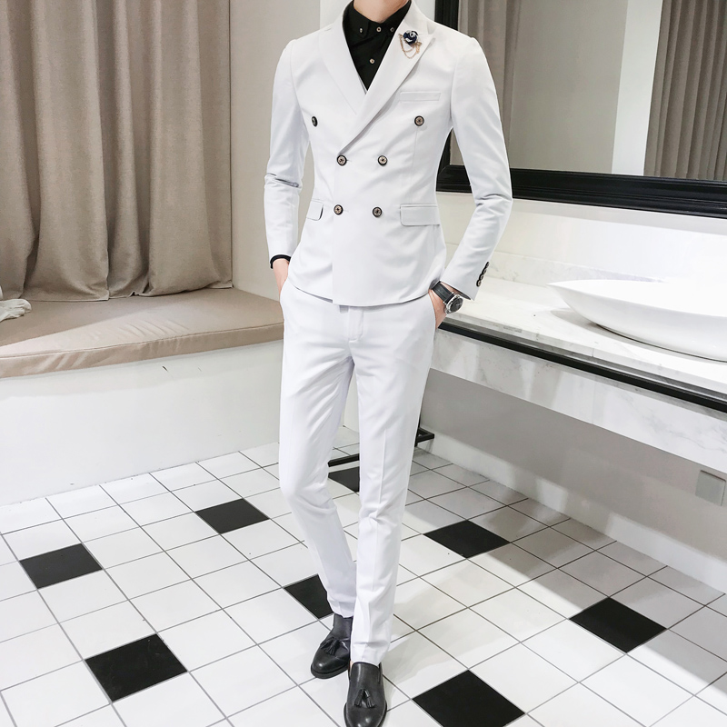 3 Piece /2018 Spring New Slim Men's Blazer Sets , Solid Color Men Suits England Style Wind Double Breasted Suit Men Three Pieces