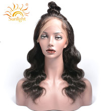 Sunlight Hair 180% Density 360 Lace Frontal Wigs Body Wave For Black Women Pre Plucked Lace Wig 100% Human Remy Hair Products