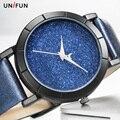 UNIFUN Новый Стиль Креативный Дизайн Звездное Небо Просто Краткое Лица Кожа Кварцевые Мода Повседневная Наручные Часы Женщины Дамы Подарок Часы