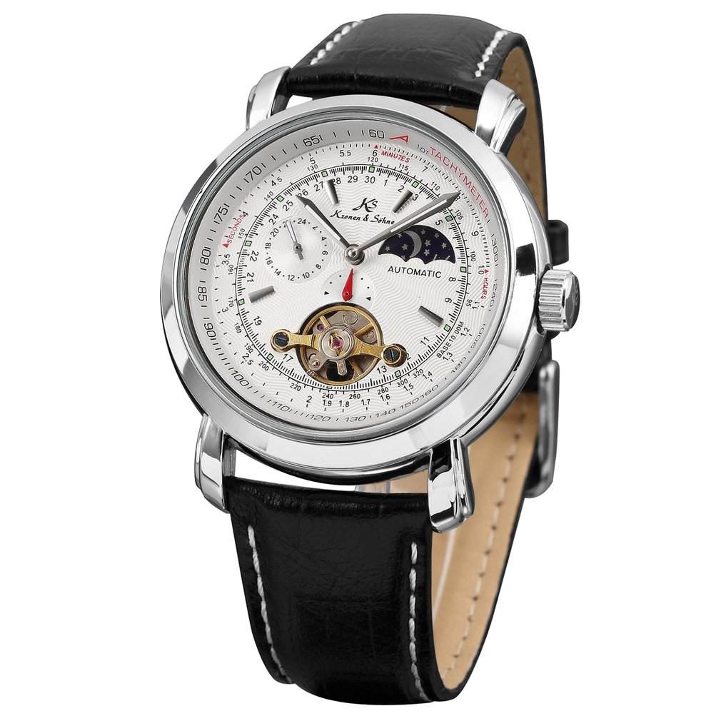 KS White Sun Moon Automatic Self Wind Black Genuine Leather Strap Relogio Business Mens Mechanical Watch