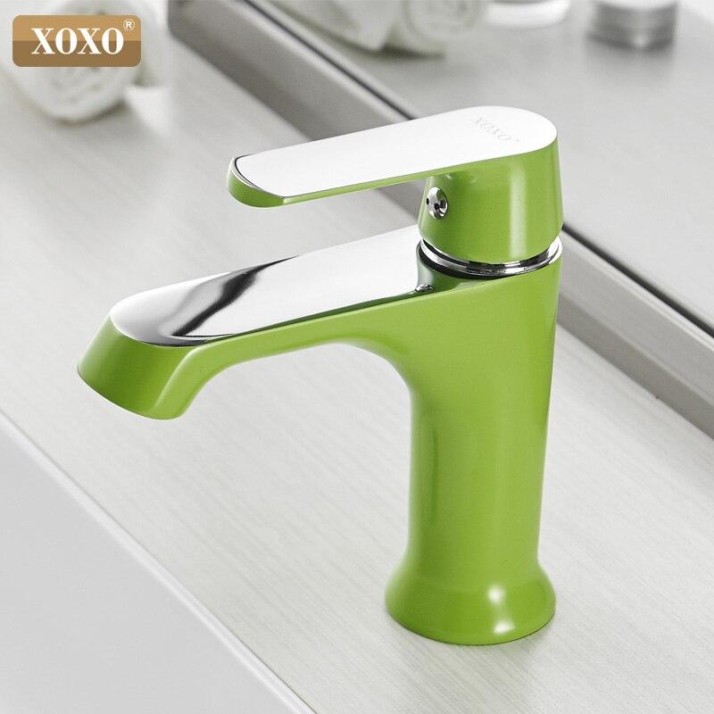 XOXO смеситель для раковины краны для холодной и горячей воды бронзовый зеленый оранжевый белый модный стиль одно отверстие смеситель для ва...