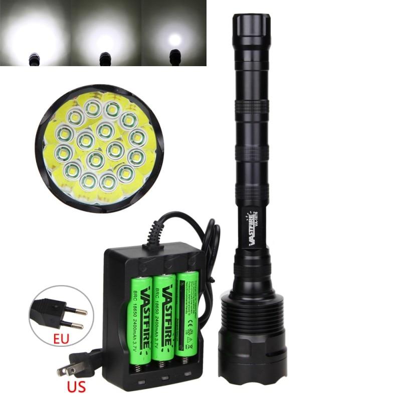 60000LM 5 Modes 16x XML-T6 LED Flashlight Torch Light Lamp+18650 Battery+Charger 3800 lumens cree xm l t6 5 modes led tactical flashlight torch waterproof lamp torch hunting flash light lantern for camping z93