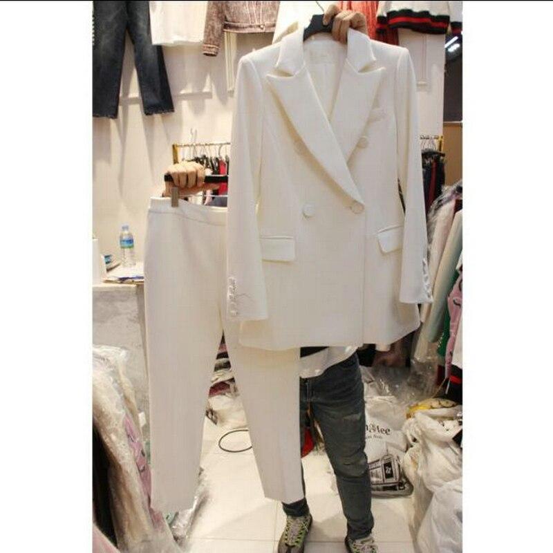 100% QualitäT Neue 2019 Zwei Stück Set Frauen Hose Anzug Größe S-4xl Weiß Jacke Blazer Mit Hose Büro Dame Arbeit Tragen Anzüge Nachfrage üBer Dem Angebot