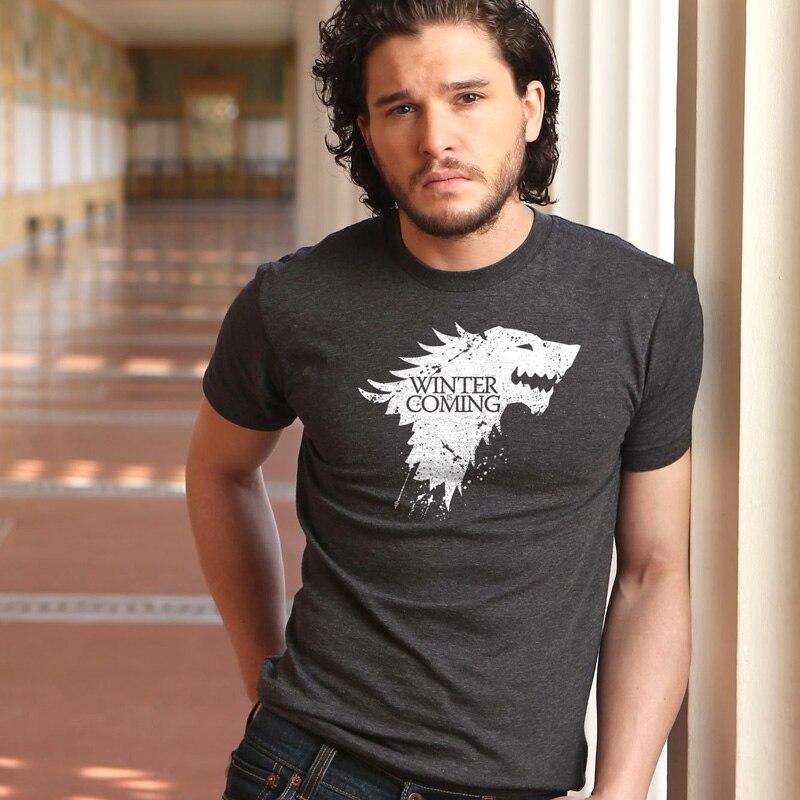 T-shirt 2019 Dos Homens Novos T-shirt Game of Thrones Inverno Está Vindo Stark Tops Masculino Homens Camisetas Casual Homens Camiseta top Verão Tees