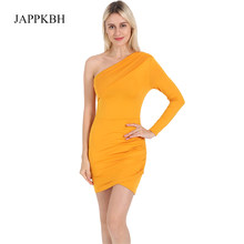 JAPPKBH Summer Bodycon Dress Women Casual One-shoulder Long Sleeve Dresses Elegant Sexy Club Yellow Dress Vestidos Robe Femme(China)