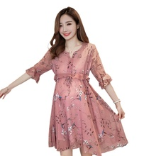 Moms Maternity Clothes Nursing Pregnant Dress Breastfeeding For Women Chiffon Half Sleeves Dresses