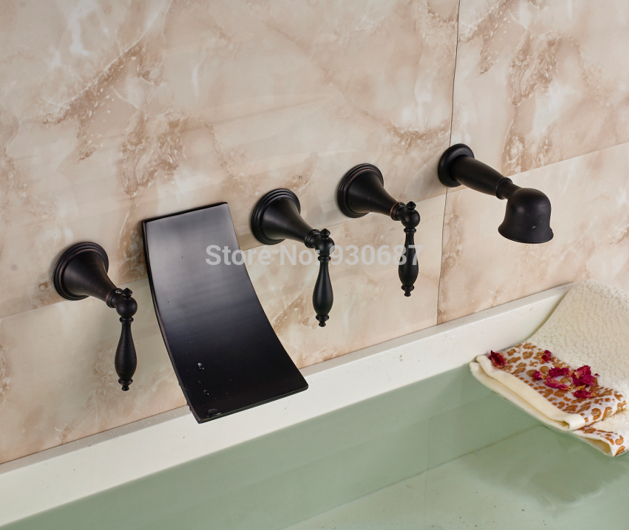 Contemporary Oil Rubbed Bronze 5 pcs Tub Faucet Three Handles Mixer Tap