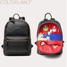 Colorland bébé sac à langer organisateur pu En Cuir de mode maman sac de maternité sac à dos marque nappy sacs maman maman mère sacs à dos