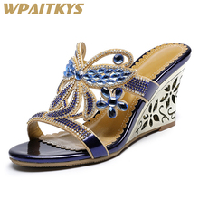 Exquisite Rhinestone Womens Sandals Fashion Blue Golden Purple Crystal Metal Decoration Leather Casual Shoes Women Birthday