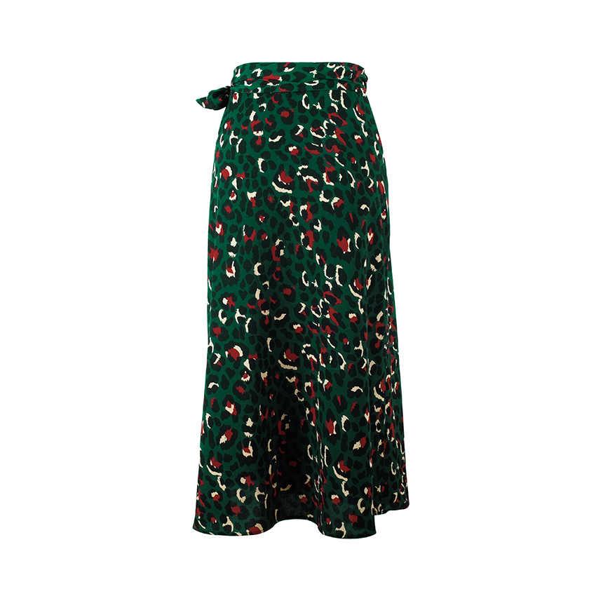 OOTN винтажные леопардовые длинные юбки с принтом женская юбка миди с высокой талией галстук-бабочка 2019 Летняя Сексуальная юбка с разрезом женская зеленая Пляжная