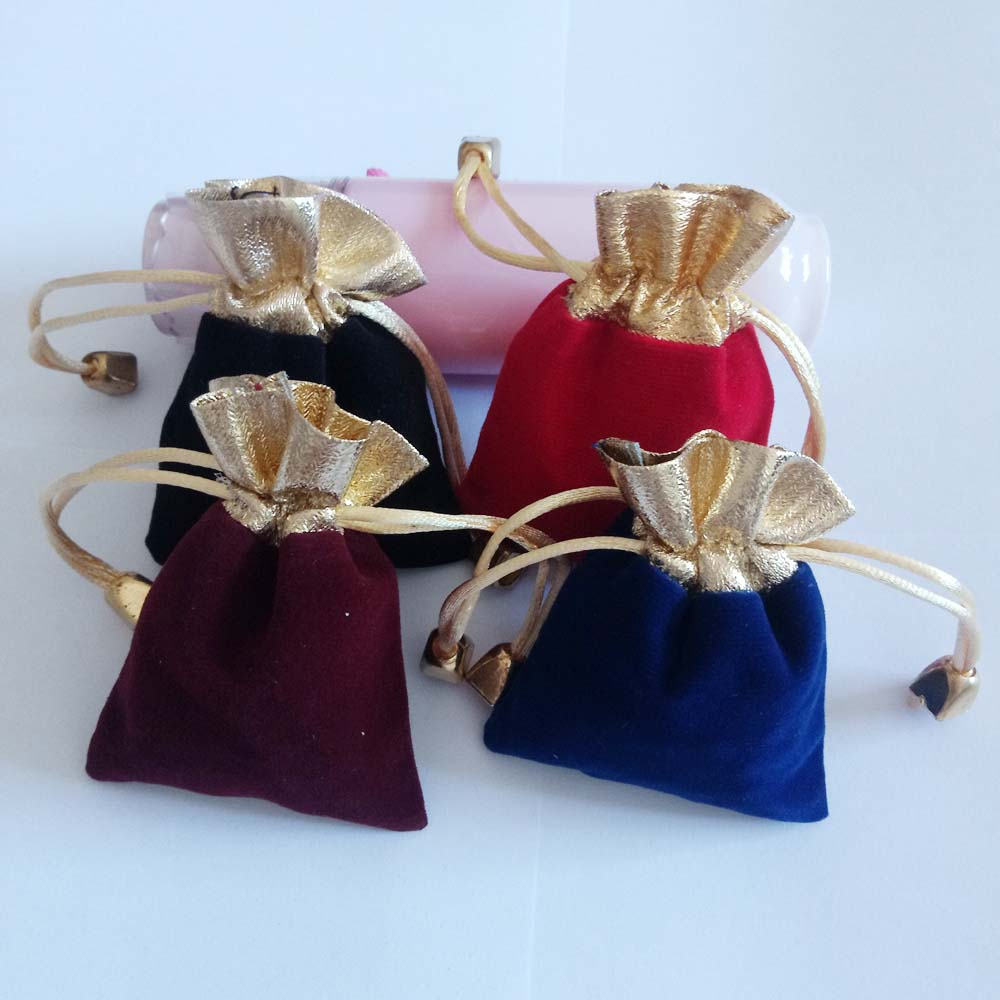 100pcs Phnom Penh Gold Bead Velvet Bag Jewellery Pouch Gift Bags Wedding Drawstring Bag Woman Jewelry Display Gift Packaging Bag