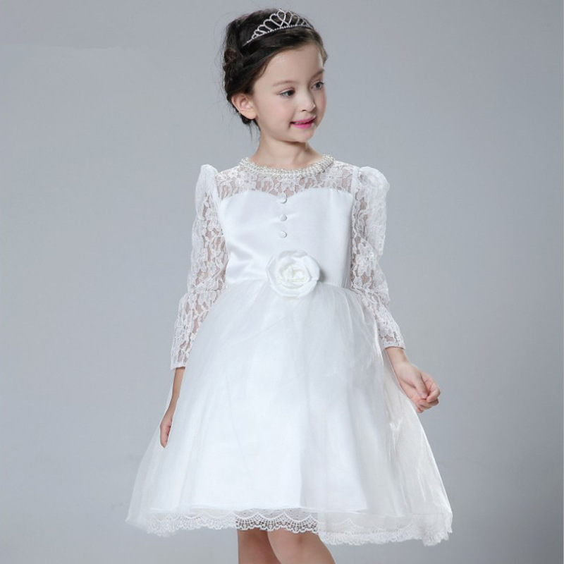 Princess Wedding Prom Party Big Bow Long Sleeves Dress Girl Lace Knee-length Dress For Age 4-8 Baby Kids Children's Dresses send envelope lace laser cut pink invitations cards for wedding free printing blank paper invitation card kit ribbons big bow