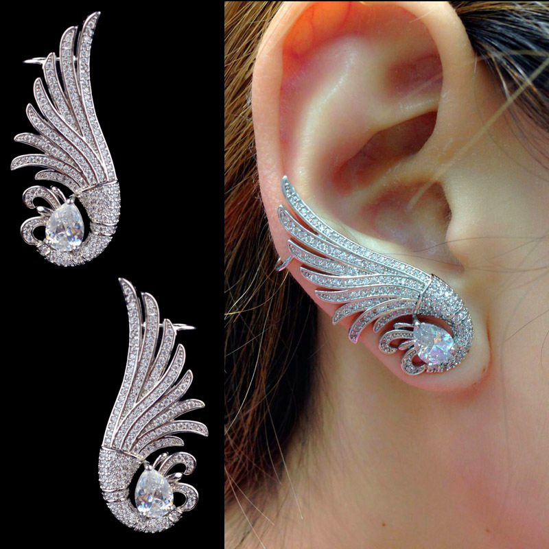 Us 19 56 50 Off 2pcs New Design Luxury Fashion Angel Wing Micro Pave Cubic Zirconia Ear Cuff Earring For Women High Quality Cz Zircon Jewelry In