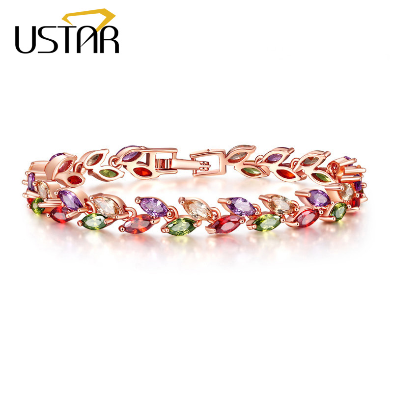 USTAR Colorful Zircon Leaf Charm Bracelet for women Rose Gold color Chain link Crystals femme Bracelet & Bangle Wedding Jewelry leaf shaped beaded detail chain bangle anklet