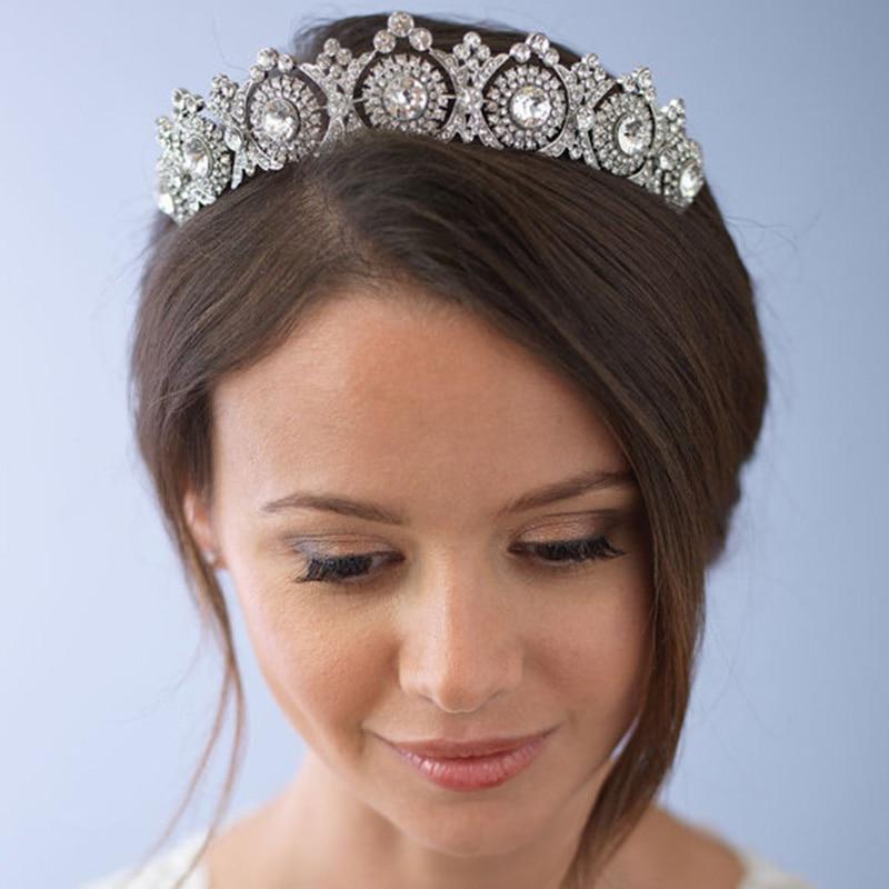 2018 European Rhinestone Princess Queen Crown Bridal Crystal Headwear Hair Decoration Ornaments Tiaras Girls Party Diadem CR087