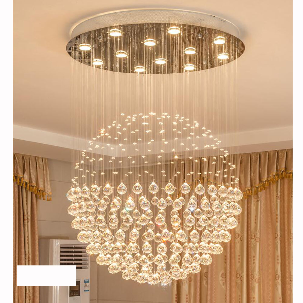 Crystal chandelier Round spherical living room dining light Modern minimalist penthouse stair lighting Clothing store chandelier vintage clothing store personalized art chandelier chandelier edison the heavenly maids scatter blossoms tiny cages