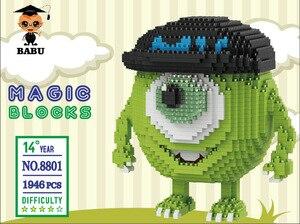 Image 5 - Babu dos desenhos animados mike monster universidade animal cão gato crianças bloco de construção plástico figuras de ação meninos brinquedo educativo 8801 8808