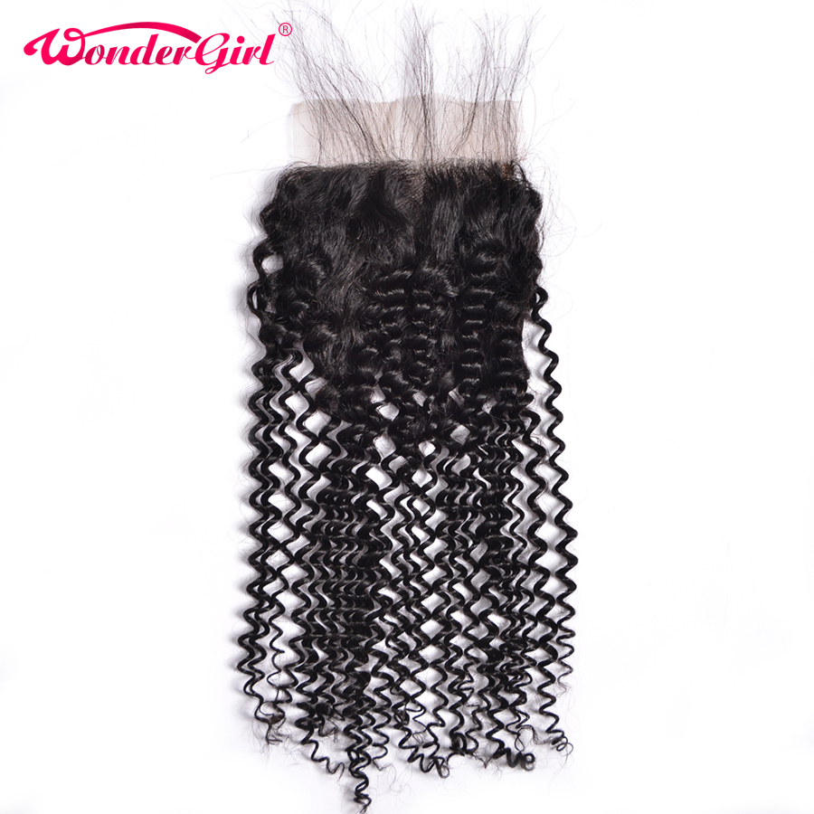 Tri / srednji / brezplačni del perujski kinky curly zaprtje 4x4 - Človeški lasje (za črne) - Fotografija 1