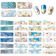 12sheets/lot Nail decals Sea shell starfish nail transfers stickers tattoo flowers decoration polish