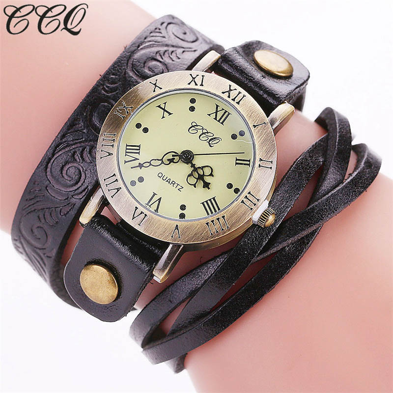 CCQ Vintage Women Bracelet Watches Multilayer Wrapped Cow Leather Strap Roman Numbers Quartz Watch Casual Wristwatches Gift