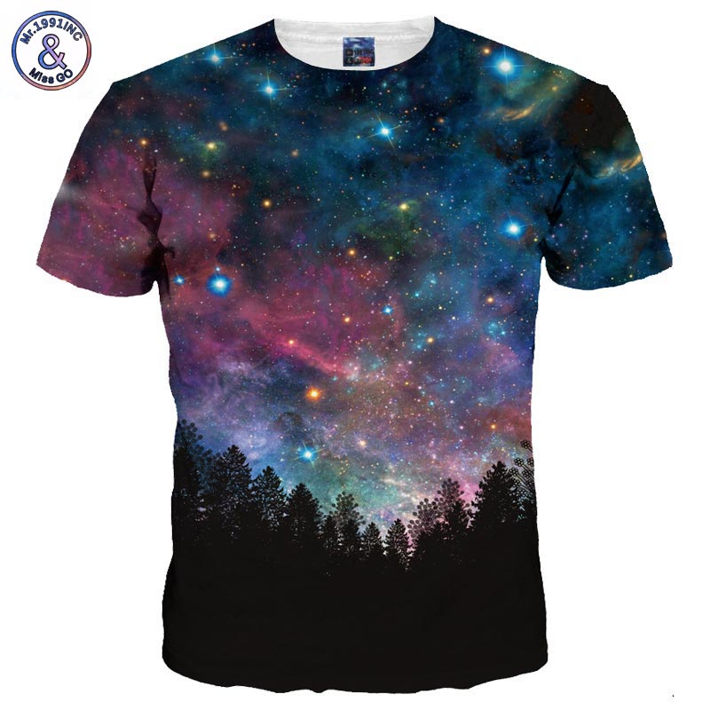Mr.1991INC Men/Women 3d Tshirts Space Galaxy T-shirt 3d Print Trees Stars Night Quick Dry Summer Tops Tees