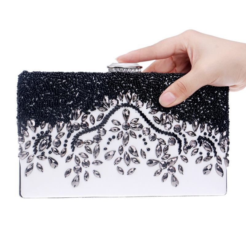 Evening Clutch Bag Lady Party Wedding Bag Shoulder Chain Purse Handbags For 2017 Women Evening Bags Black Crystal