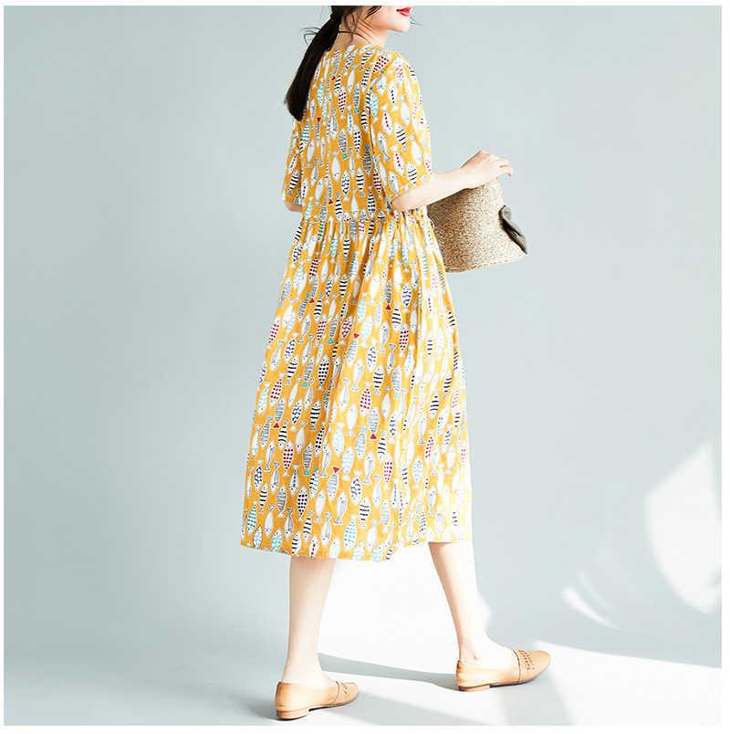 2018 мода плюс Размеры рыбки рисунком хлопок белье Туника Для женщин летом над Размеры d короткий рукав платье трапециевидной формы Vestidos