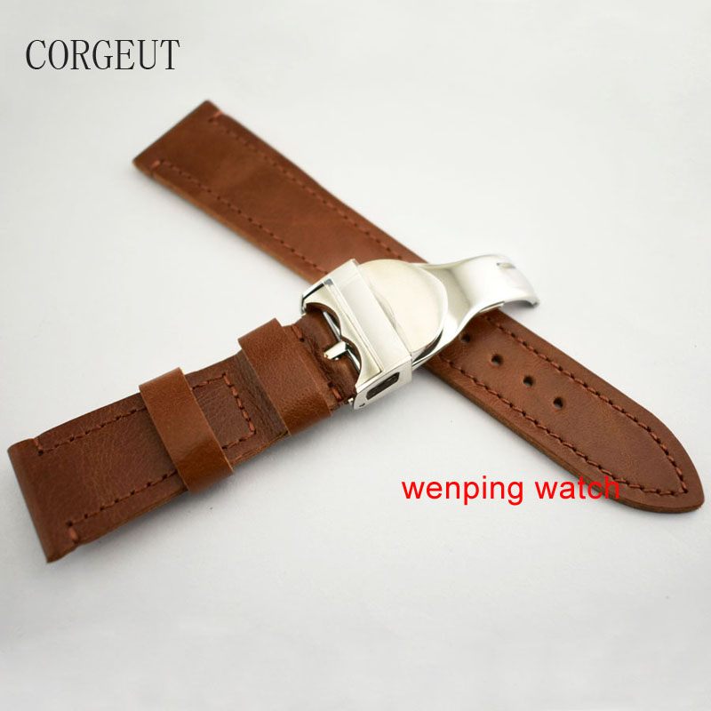 22mm brown Leather watch Strap 316L Deployment steel Buckle watch Bands strap buckle P754