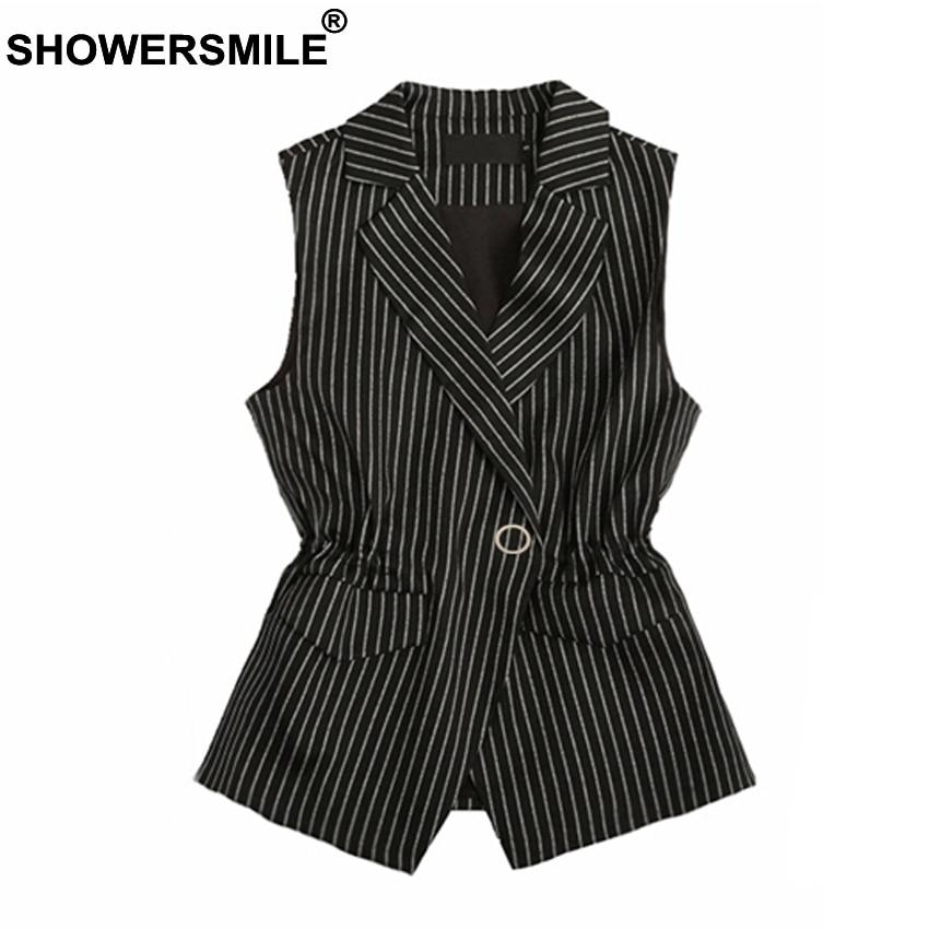 SHOWERSMILE Spring Autumn Slim Fit Black Striped Vest Women Sleeveless Blazer Vest Female Elegant Fashion Waistcoat Jacket