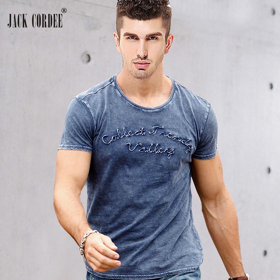 JACK CORDEE Mode t-shirt Männer Buchstaben Gestickt 100% Baumwolle T-shirt Slim Kurzarm T-shirt O-ansatz Tops Marke T-shirt männer