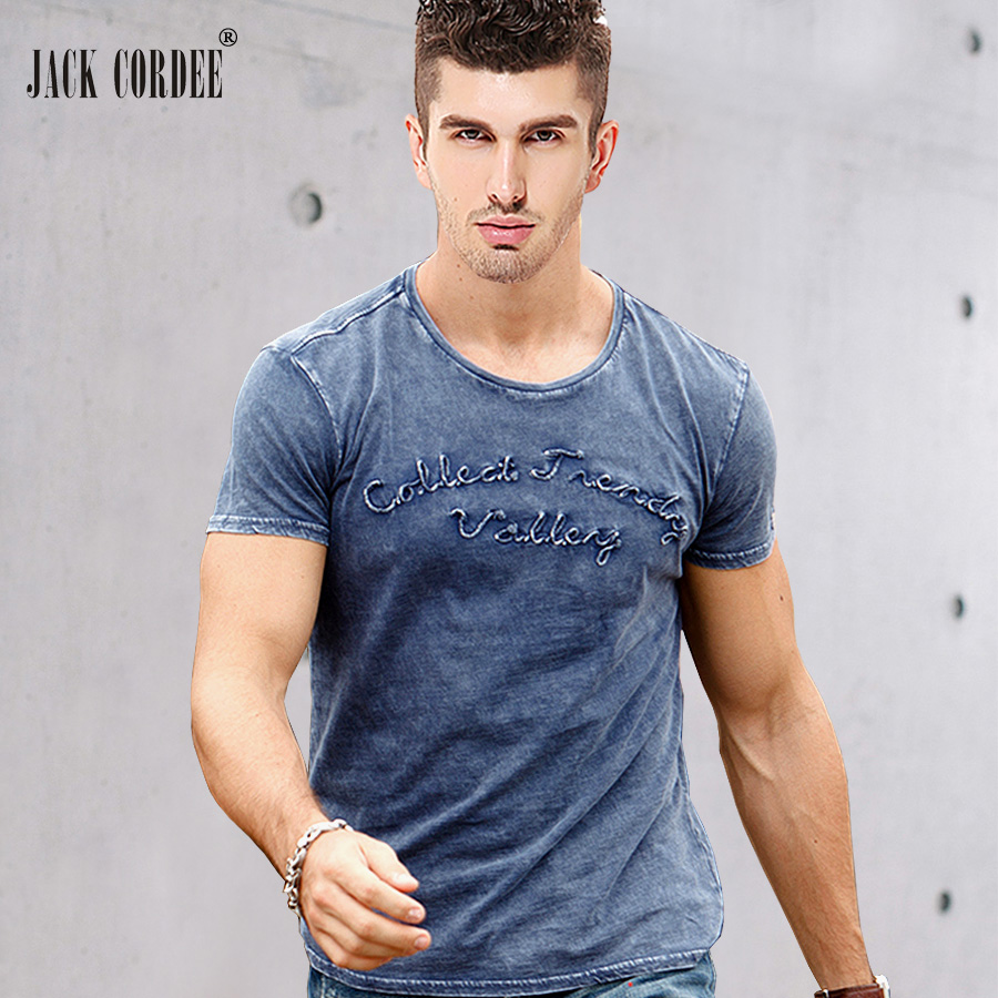 JACK CORDEE Fashion   T     shirt   Men Letter Embroidered 100% Cotton Tee   Shirt   Slim Short Sleeve Tshirt O-Neck Tops Brand   T  -  shirt   Men