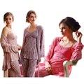 Três-pedaço Pijamas Mulheres Camisola 2016 das Mulheres 100% Algodão Cinta Pijama para As Mulheres Sleepwear Conjuntos de Pijama Entrega Gratuita