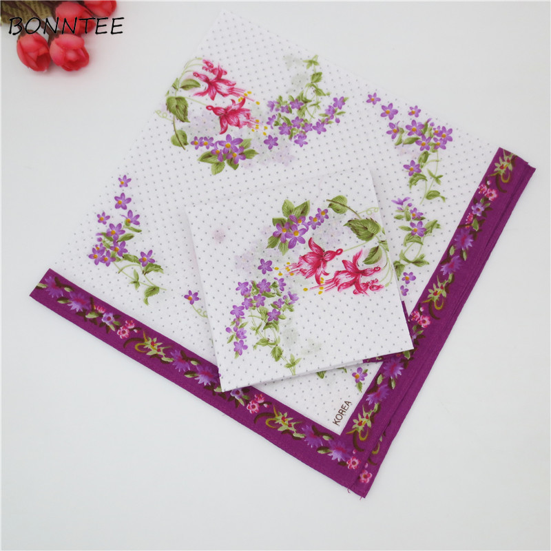 Handkerchiefs Women Floral Printing Colorful National Style Ladies Square Handkerchief Elegant Trendy Womens Soft Simple Cotton