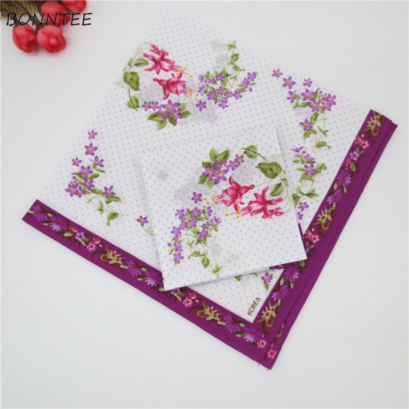 Handkerchiefs Women Floral Printing Colorful National Style Ladies Square Handkerchief Elegant Trendy Womens Soft Simple Cotton
