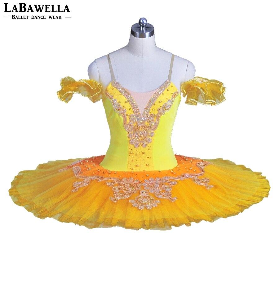 Women Custom Platter Classical Costume BT8965A Orange Professional Yellow Women Pancake Ballerina Tutu